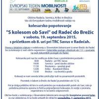 """""""S kolesom ob Savi"""" v soboto 19.09. ob 08.00 iz Radeč, priključite lahko ob 10.00 v Sevnici"""